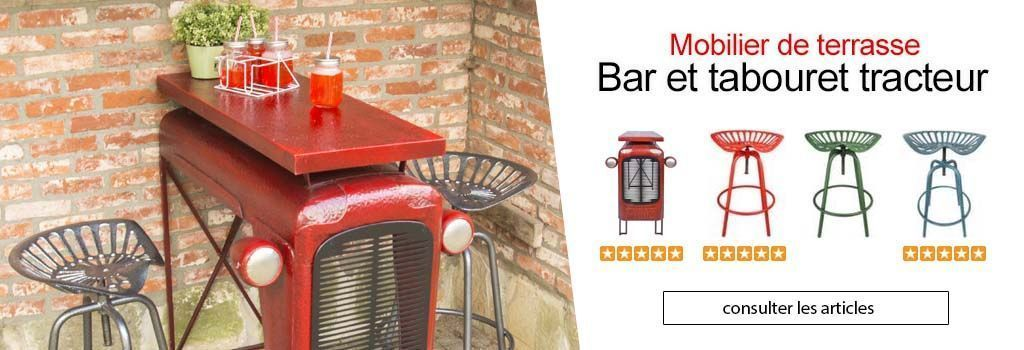 BAR ET TABOURET TRACTEUR : evenenement shopping sur Jardindeco.com