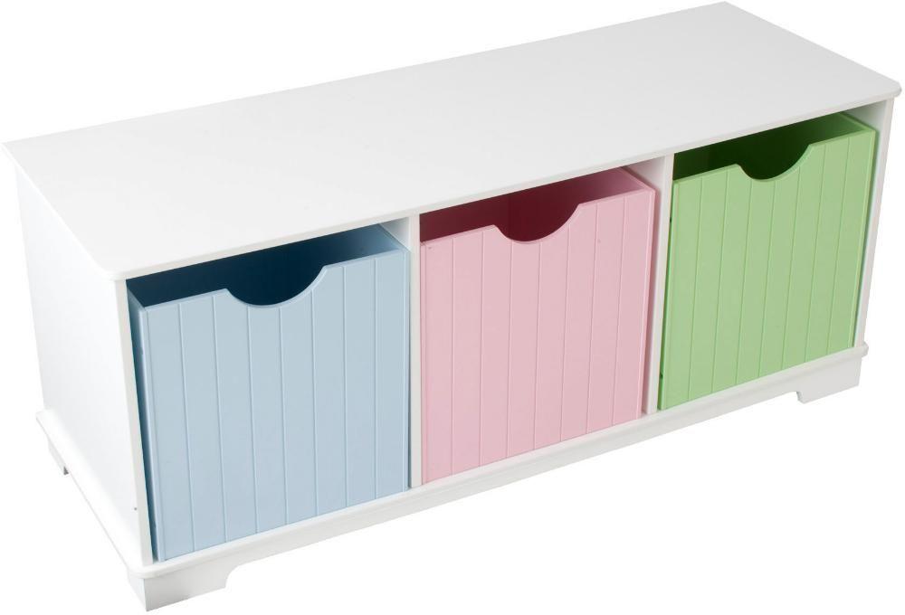 Banc de rangement en bois avec tiroirs pastels 99x42x36cm