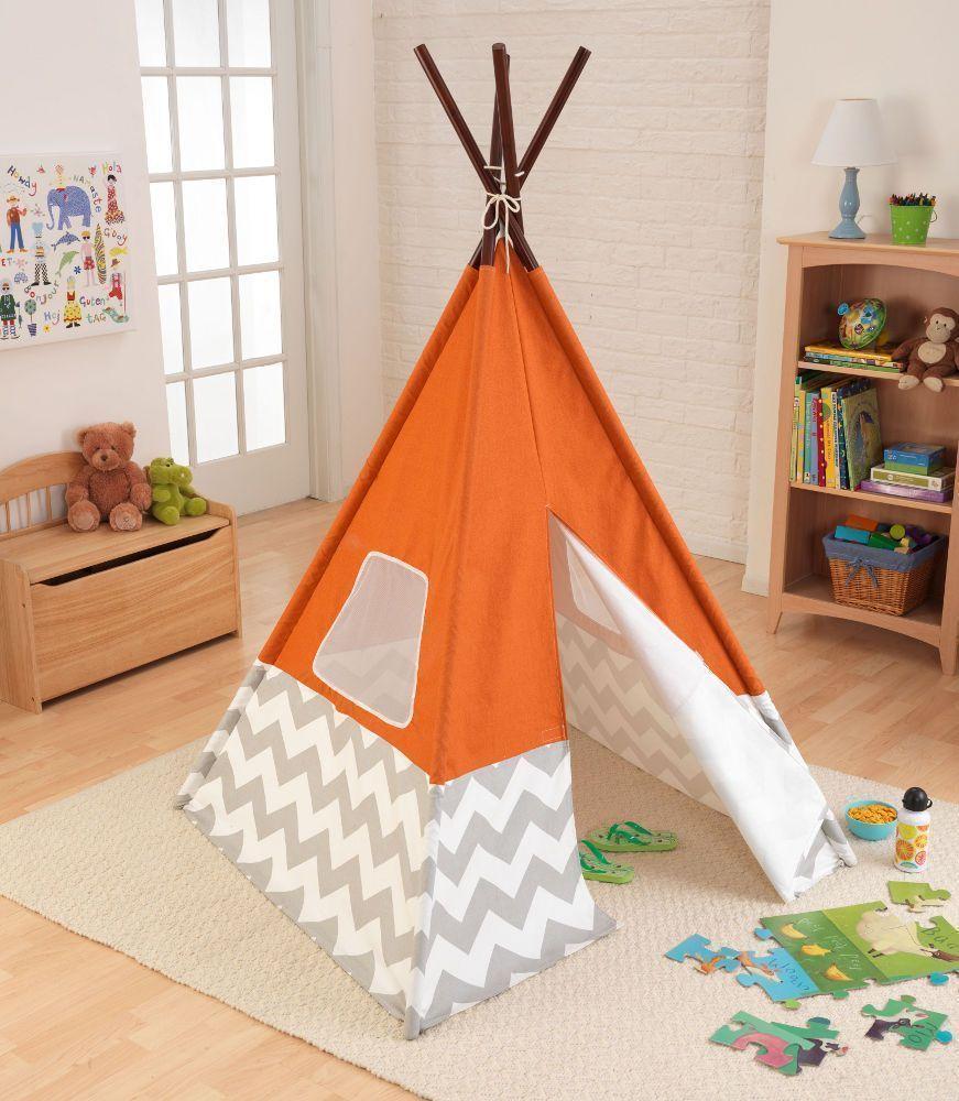 Tente Tipi Orange Pour Enfant 109x176cm Tente Tipi