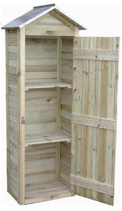 petite armoire de jardin en pin 181x63x43cm. Black Bedroom Furniture Sets. Home Design Ideas