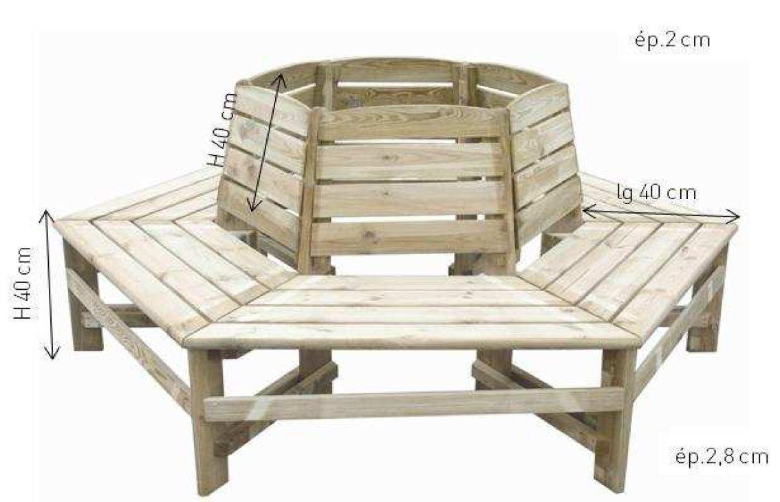 banc tour d 39 arbre orlando en pin 190x 90cm bois jardipolys sur. Black Bedroom Furniture Sets. Home Design Ideas