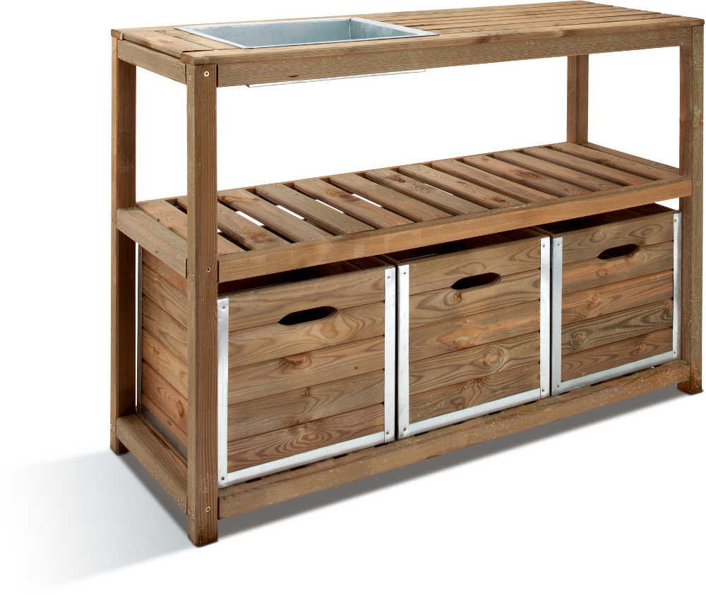 Table de jardinage 3 tiroirs, 1 bac � rempoter 129x45x90cm