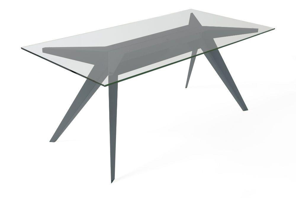 Table stern 220 by stephan lanez en verre et aluminium noir 220x90x72cm