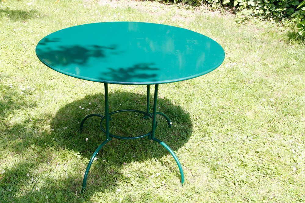 Table De Jardin Aluminium Et Bois : salon de jardin rond 4 places laura en fer forge vert salon de jardin