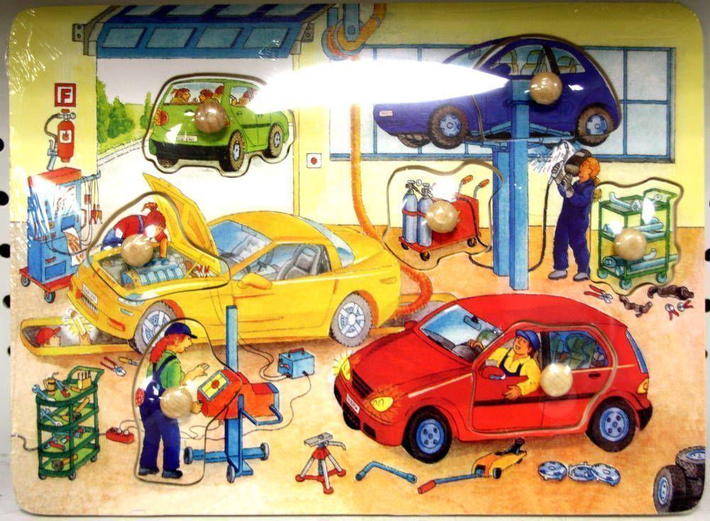 Puzzle en bois 7 pi�ces le garage 29.5x22x3cm