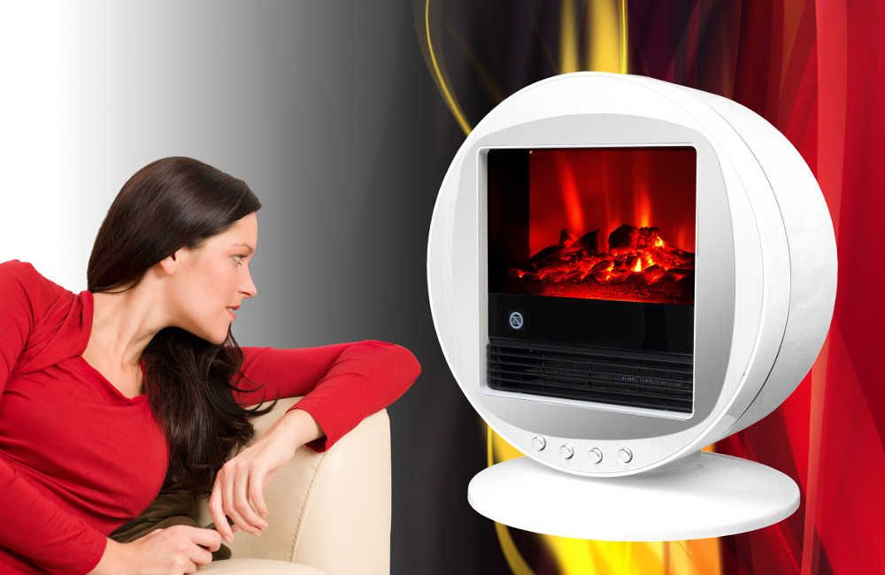 Chemin�e design fire bowl blanche oscillante � 90� 40x30x38cm