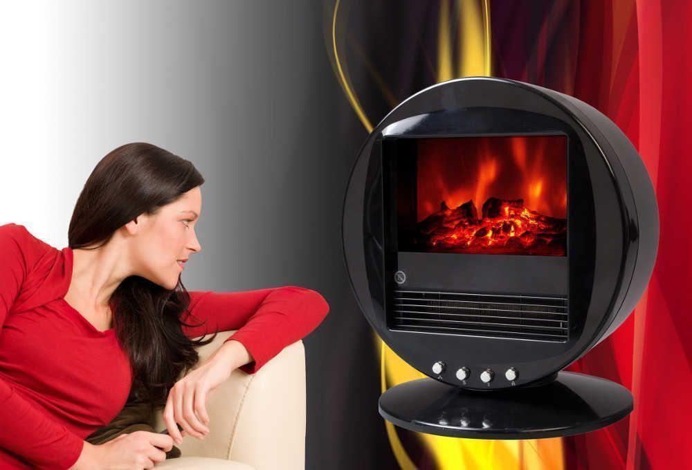 Chemin�e oscillante design fire bowl noire 40x30x38cm