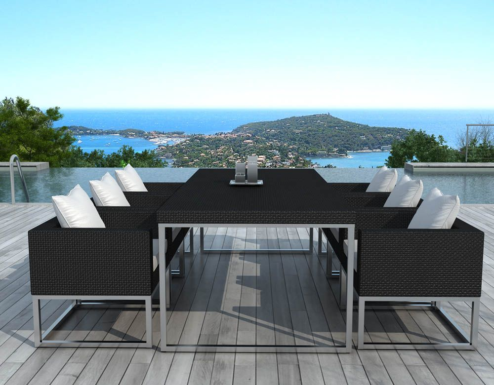 salon de jardin design 1 table 6 fauteuils salon en r sine sur. Black Bedroom Furniture Sets. Home Design Ideas