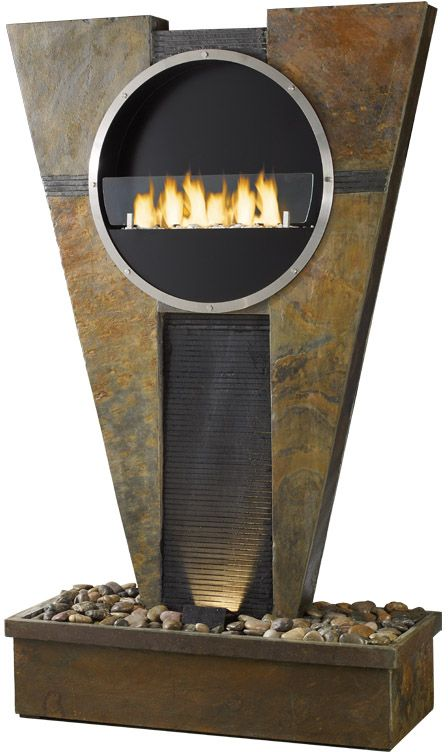 Fontaine chemin�e rom�o en pierre de schiste 104x44x178cm