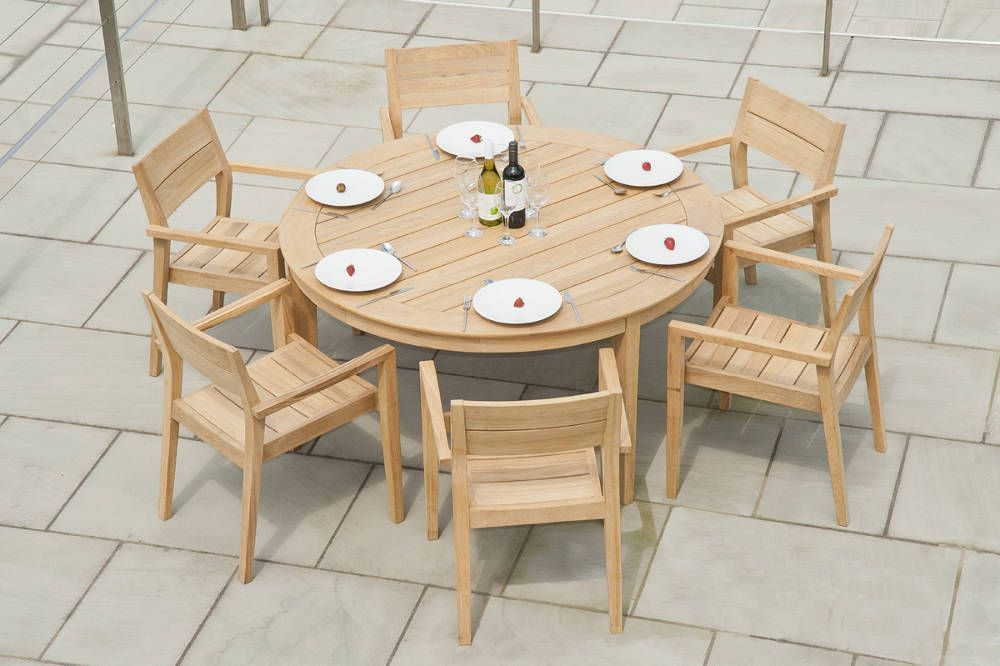 Table de jardin ronde 6 places for Table ronde 6 places