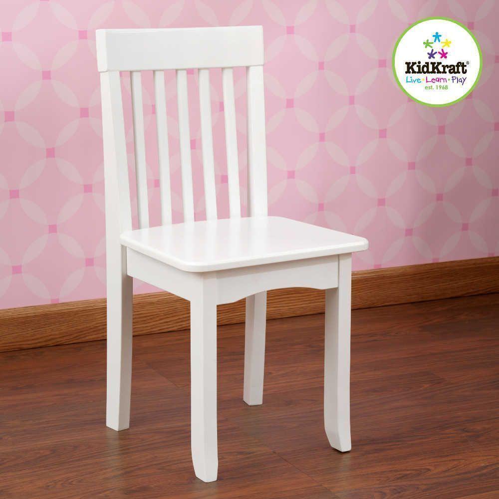 Chaise blanche en bois pour enfant 34x32x68cm
