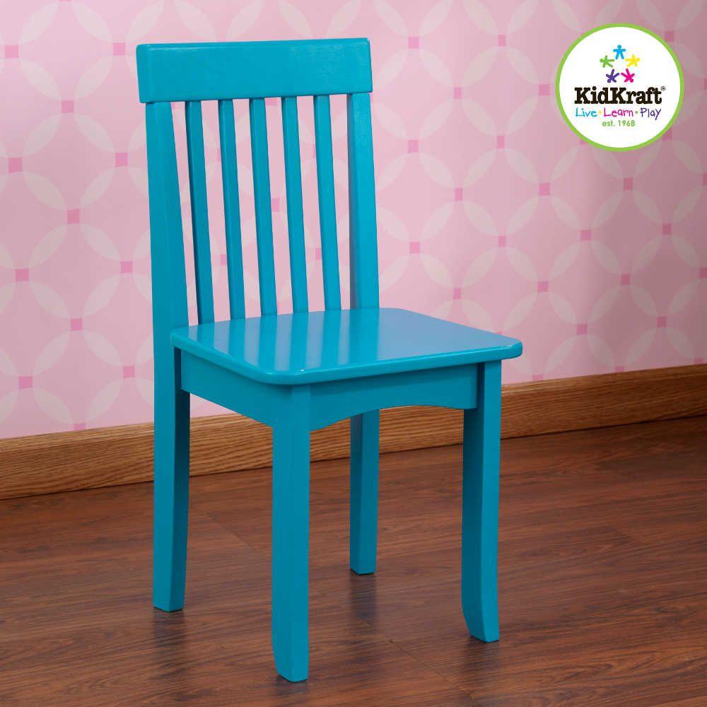 Chaise turquoise en bois pour enfant 34x32x68cm