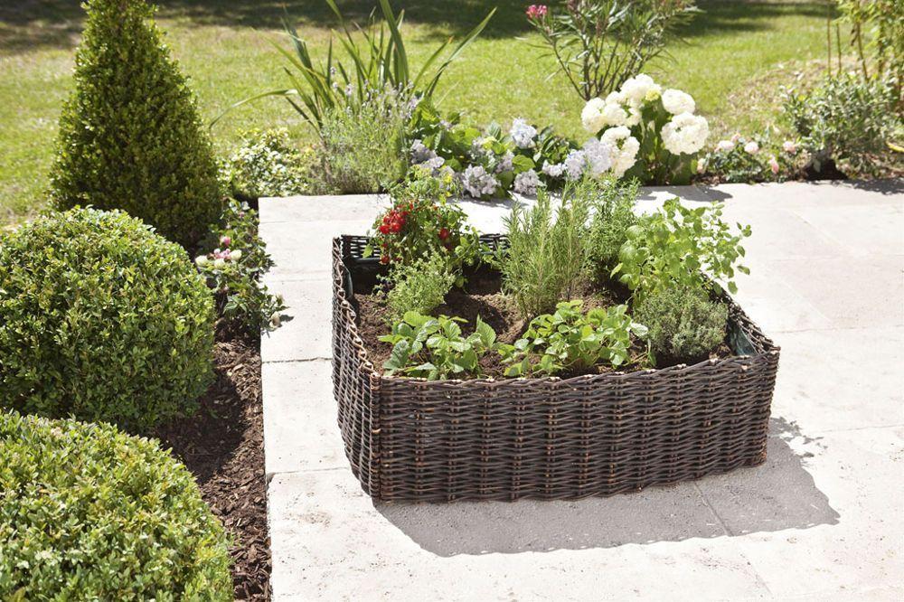 Intermas - Carré de plantation Vegetal garden en osier avec bâche renforcée - Dimensions : 75 x 75 x 25 cm