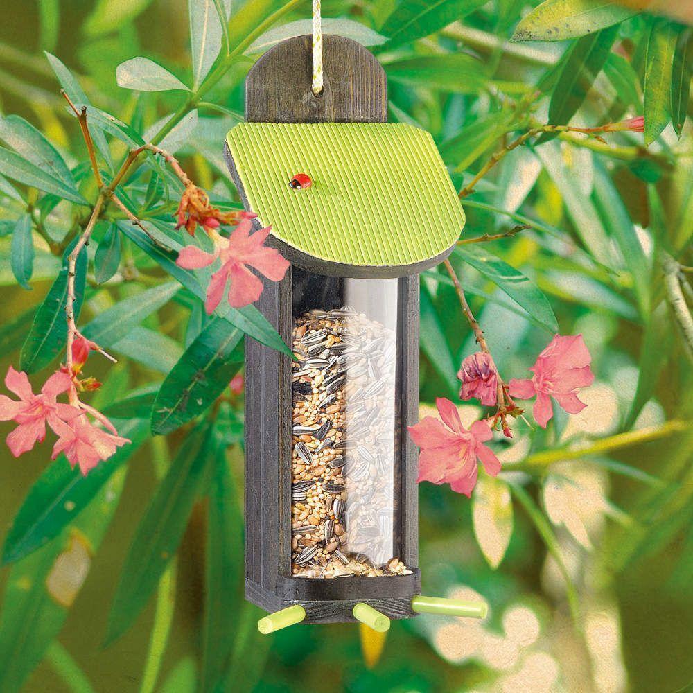 Distributeur de graines garden seasons en bois 11x11x27cm