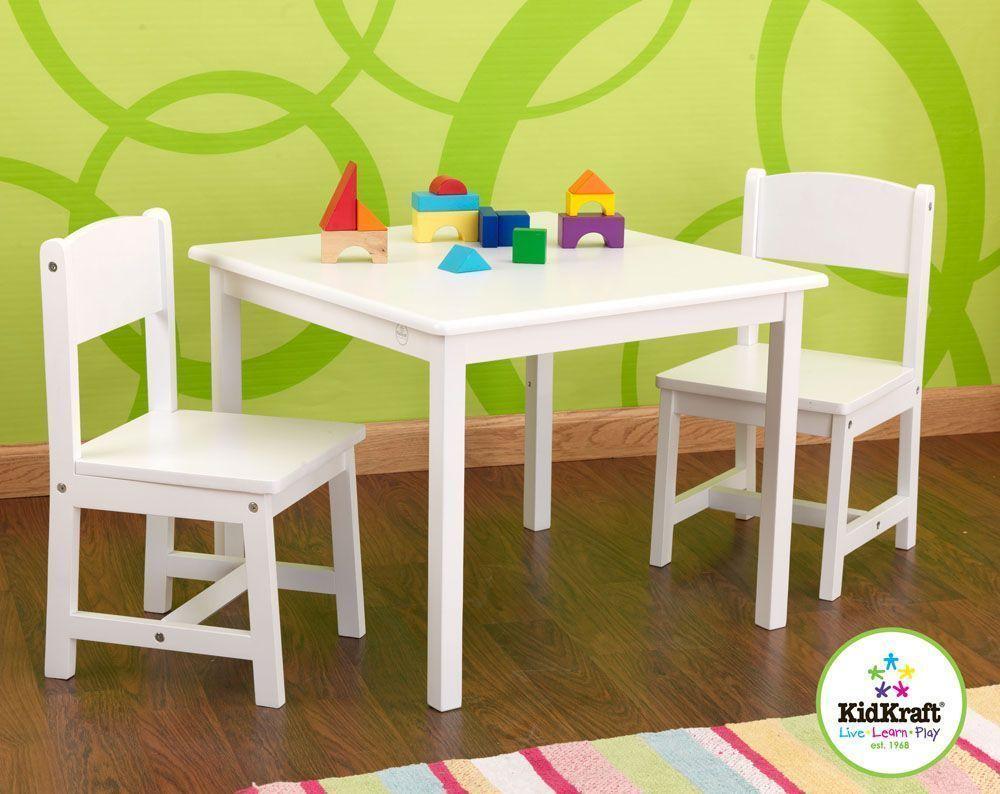 Salon table et chaises pour enfant en bois blanc