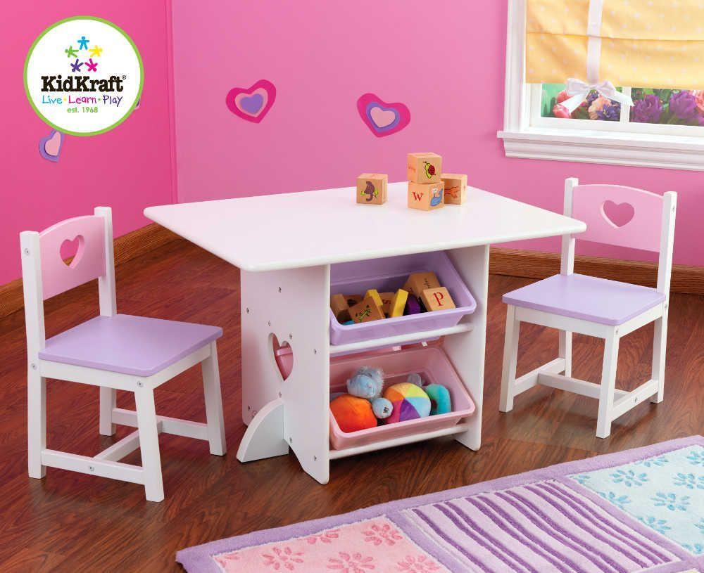 Salon pour enfant table et chaises coeurs en bois avec rangements