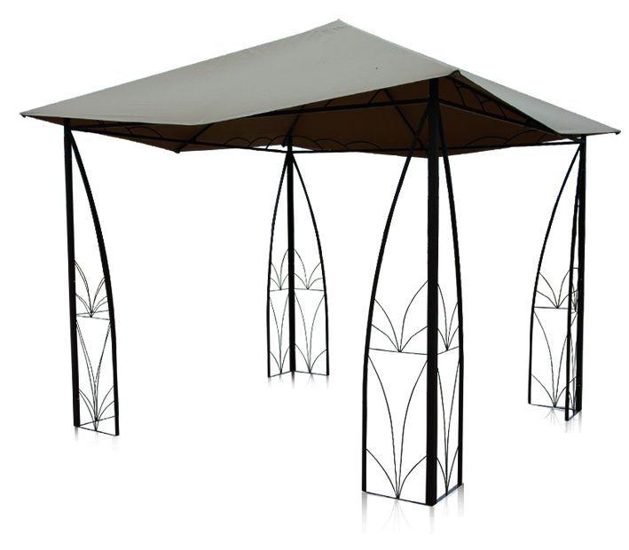 Gloriette arabesque en polyester taupe et aluminium 3x3m