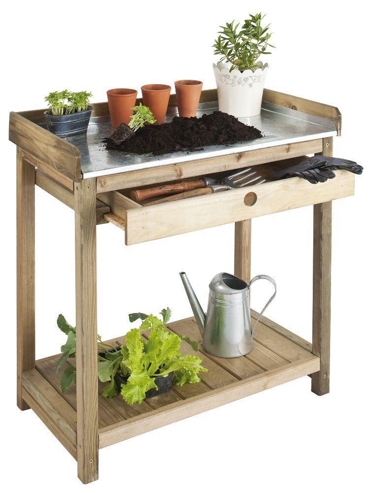 Table de jardinage avec tiroir