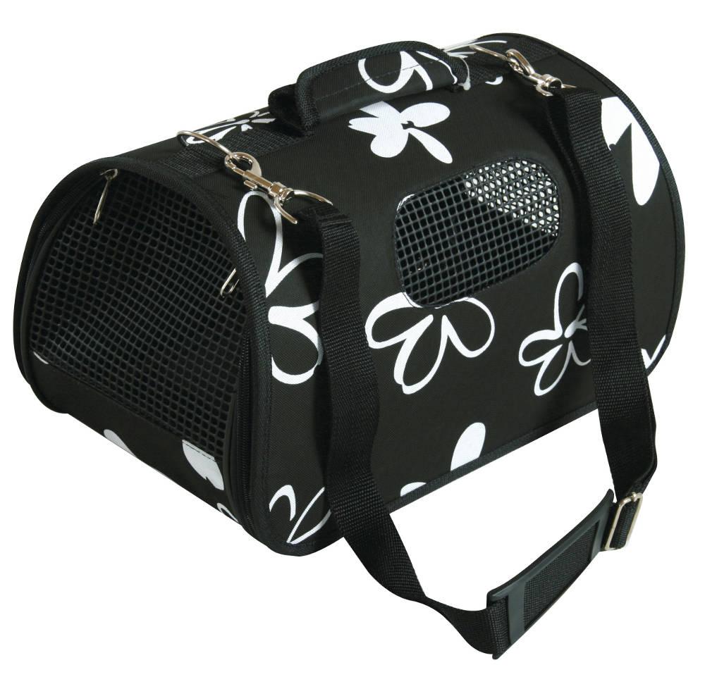 Panier de transport flower noir pour chat et chien 21x36x23.5cm