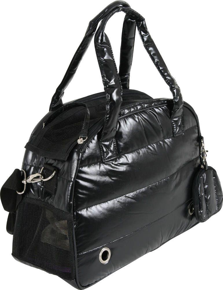 Sac de transport chien noir matelass� aspect doudoune 35x15x25cm