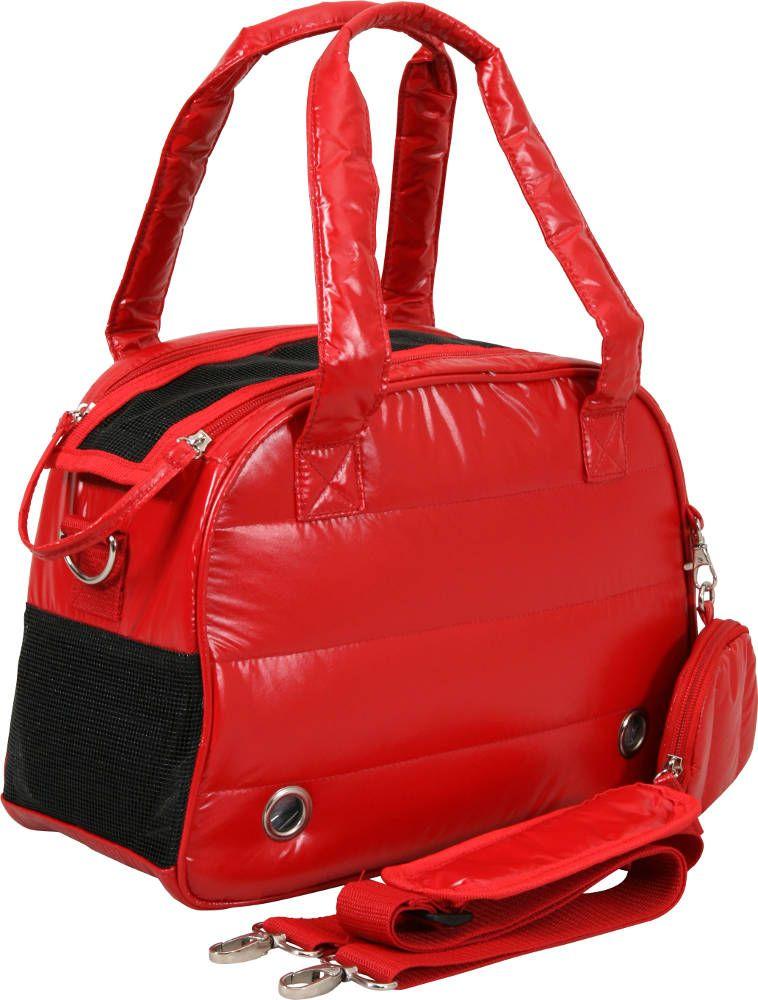 Sac de transport chien rouge matelass� aspect doudoune 41,5x17,5x28cm