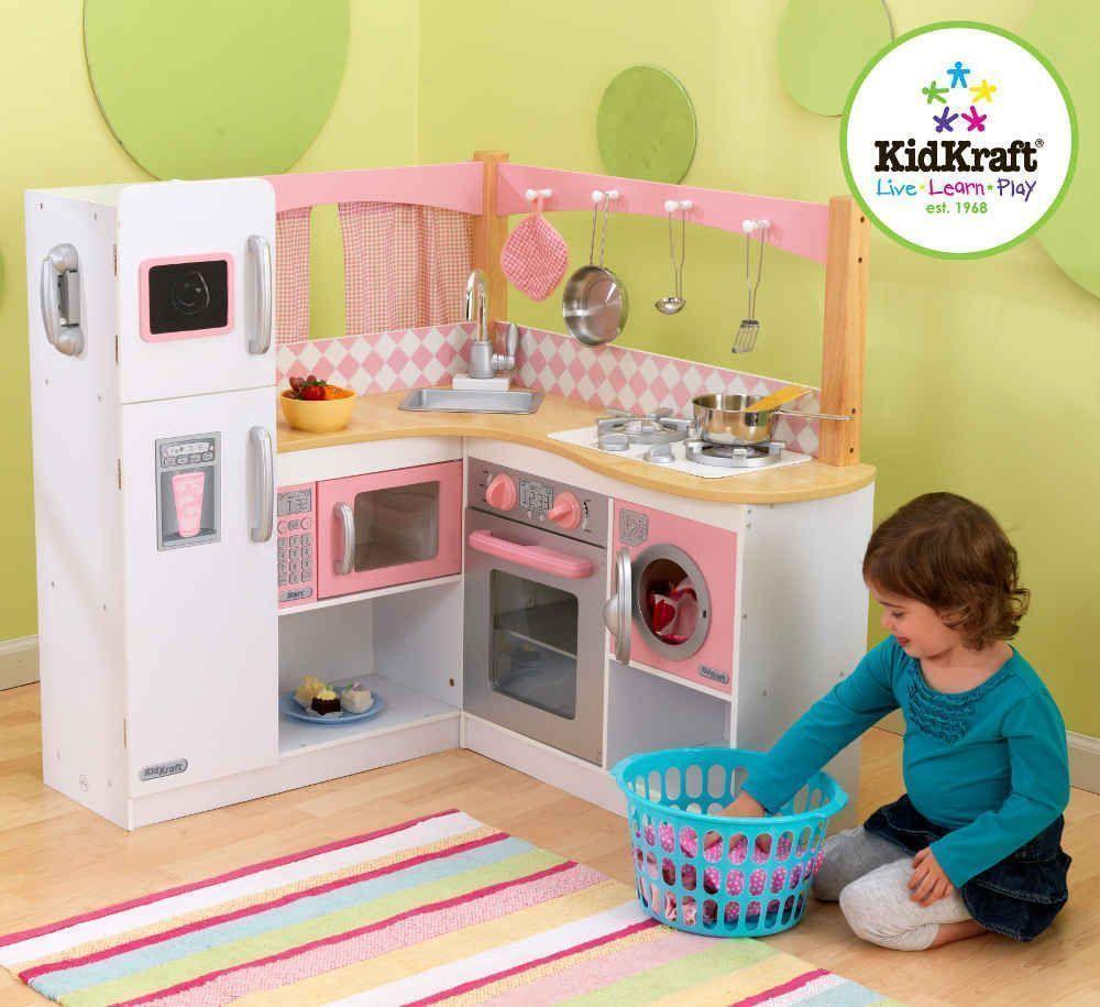 Grande cuisine d 39 angle pour enfant cuisine vaisselle for Grande cuisine complete