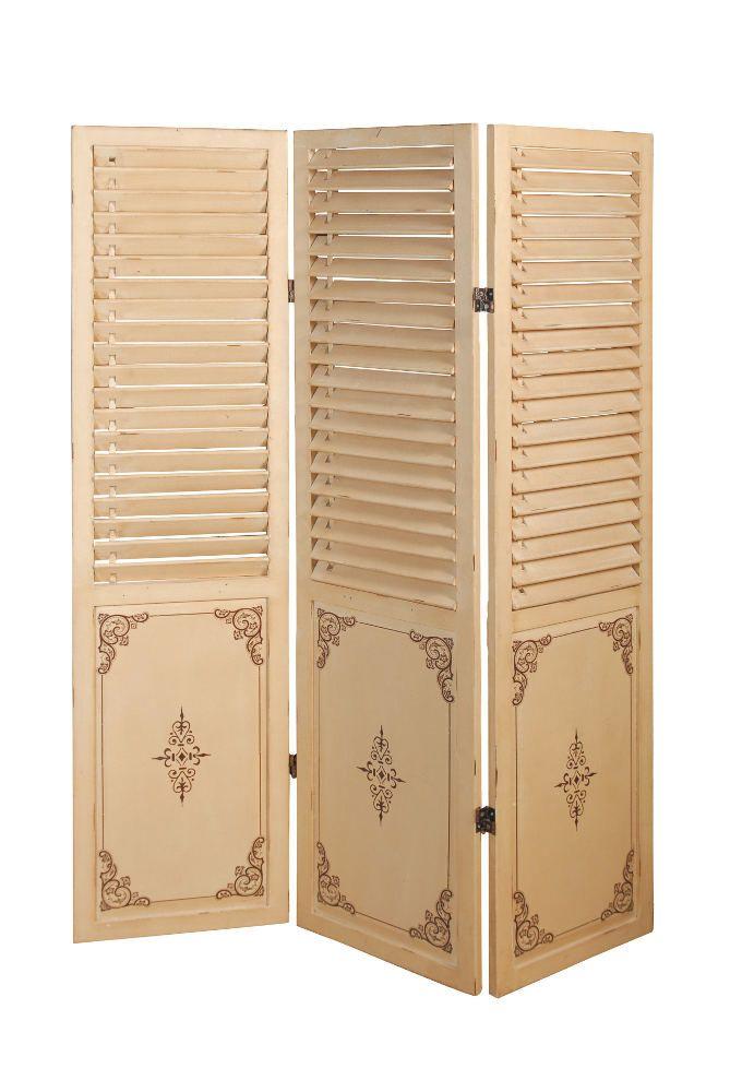 Paravent 3 panneaux mademoiselle en bois 123,5x160cm