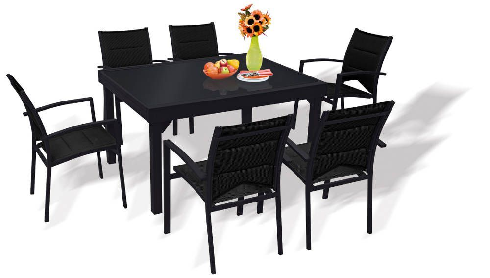 Salon 6 personnes modulo noir en aluminium et textil�ne avec rallonges