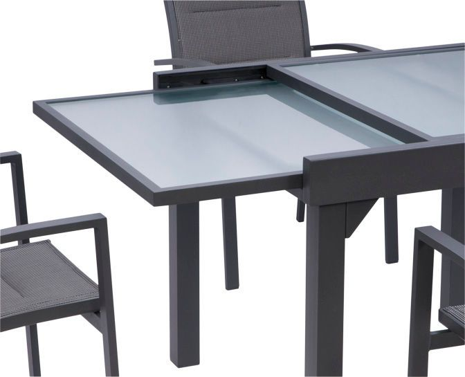 Salon de jardin modulo gris 1 table 6 fauteuils for Table extensible 6 a 8 personnes blooma
