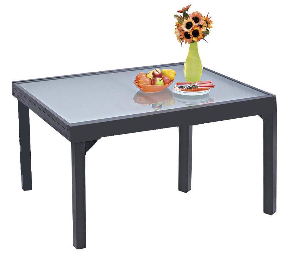 Table de jardin gris modulo en aluminium avec rallonges pour 6 � 10 personnes
