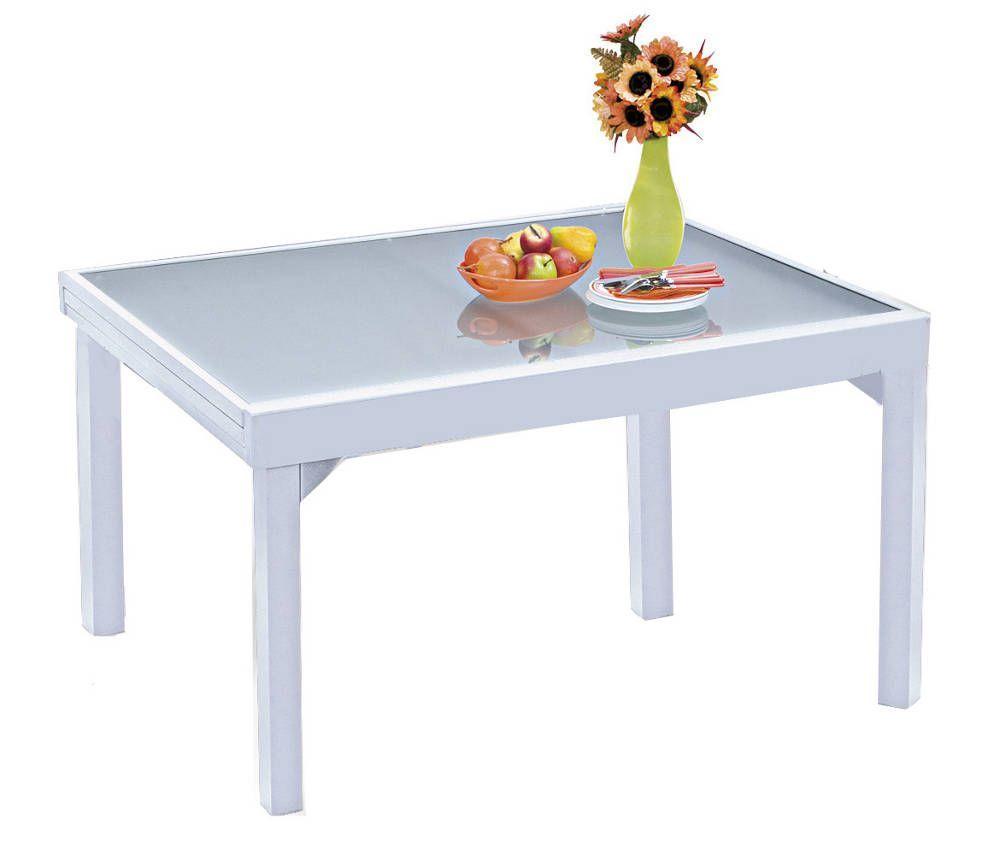 Table de jardin blanc modulo en aluminium avec rallonges pour 6 � 10 personnes