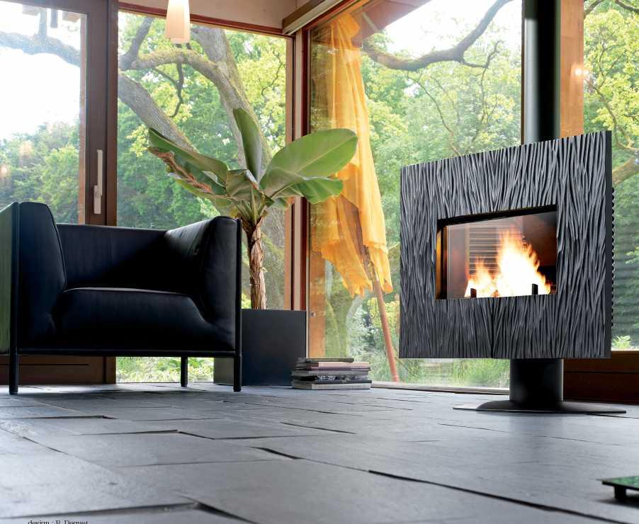 Po�le chemin�e � bois gaya ardoise finition anthracite 12kw 120x114,3x50,3cm