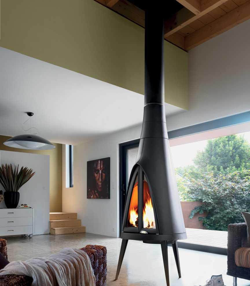 Po�le chemin�e � bois pow-wow finition anthracite 14kw 81,7x189,5cm