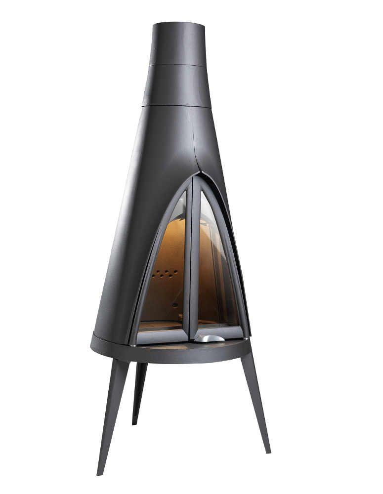 Po�le chemin�e finition anthracite � bois pow-wow 14kw 81,7x189,5cm