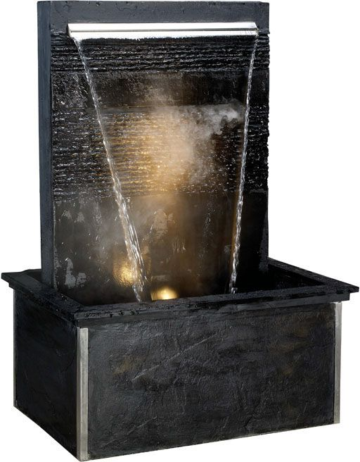 Fontaine verso black large en pierre de schiste 88x66x120cm for Fontaine exterieur zen