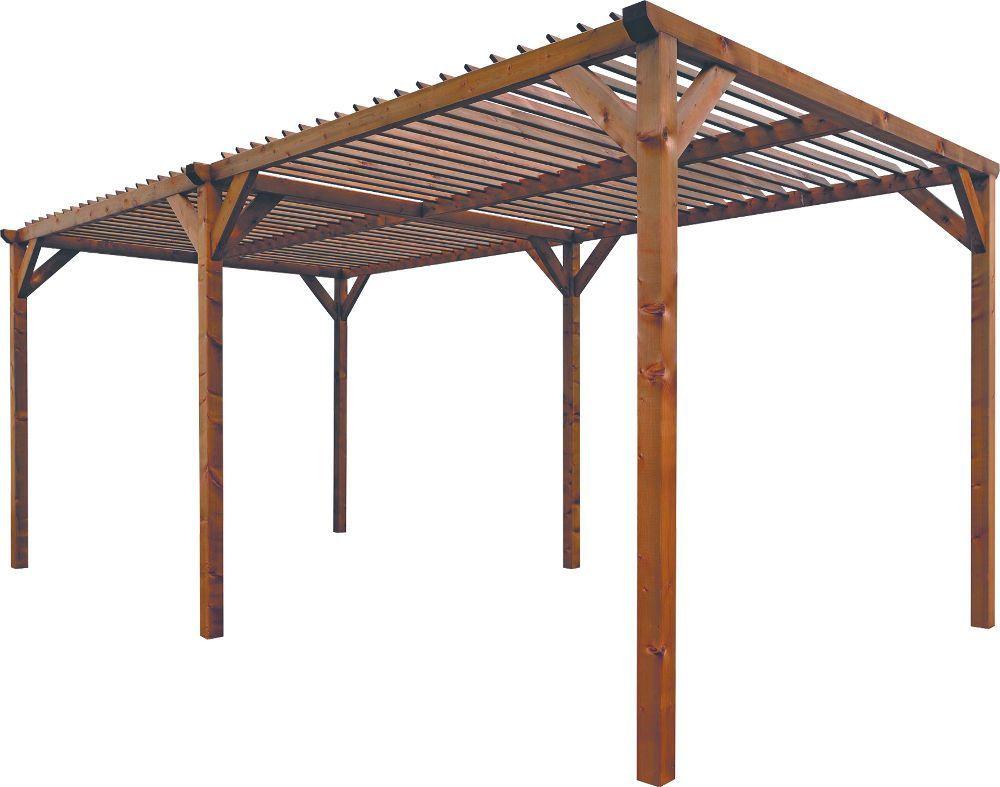 Pergola paloma en pin teint� brun amazone 268x505x219cm