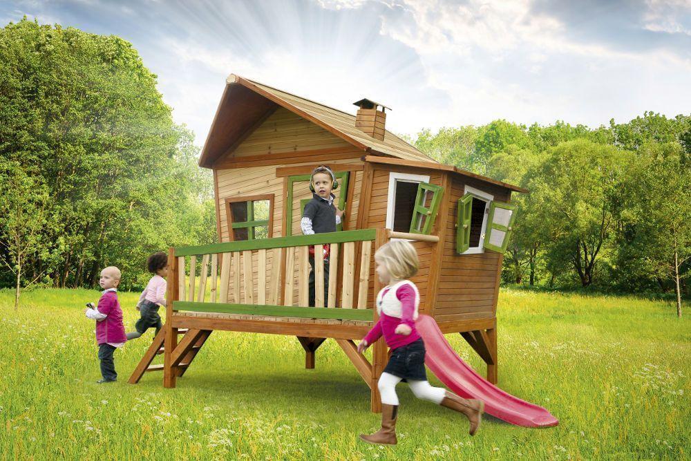 Maison pour enfant  emma sur pilotis en c�dre avec toboggan 340x180x223cm