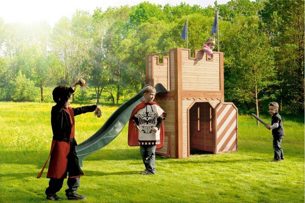 Chateau fort arthur avec toboggan en c�dre 110x306x195cm