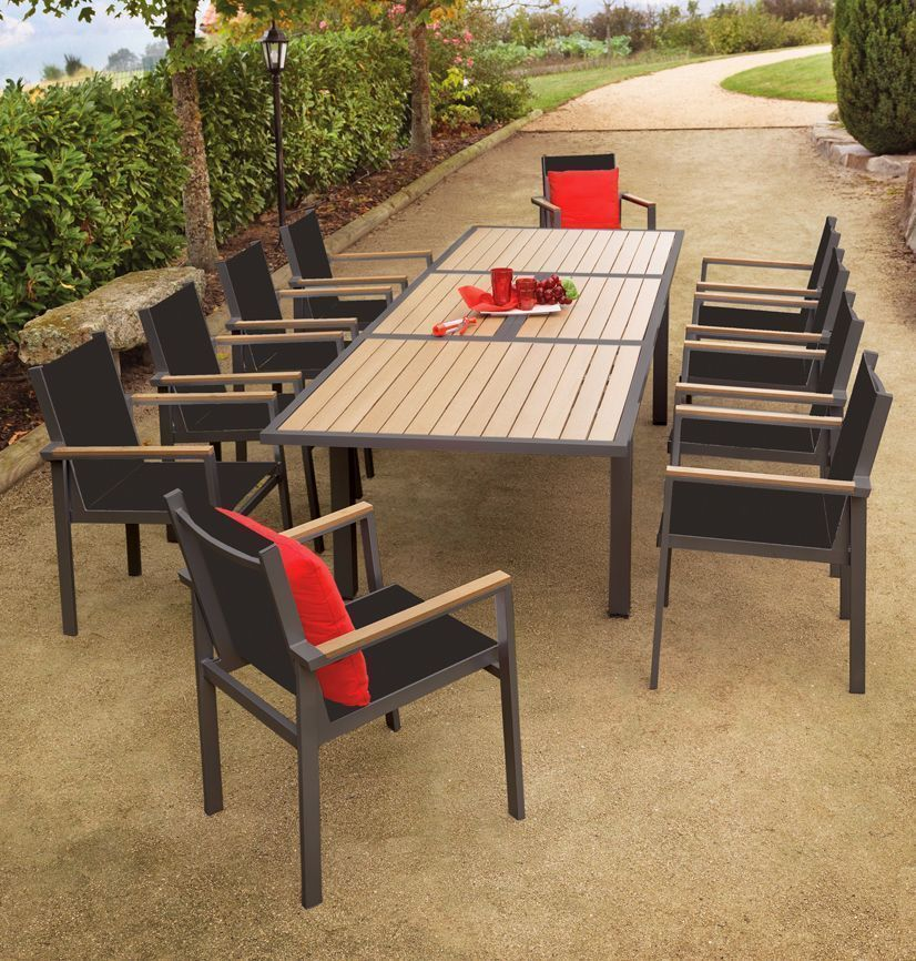 table de jardin pvc imitation bois. Black Bedroom Furniture Sets. Home Design Ideas