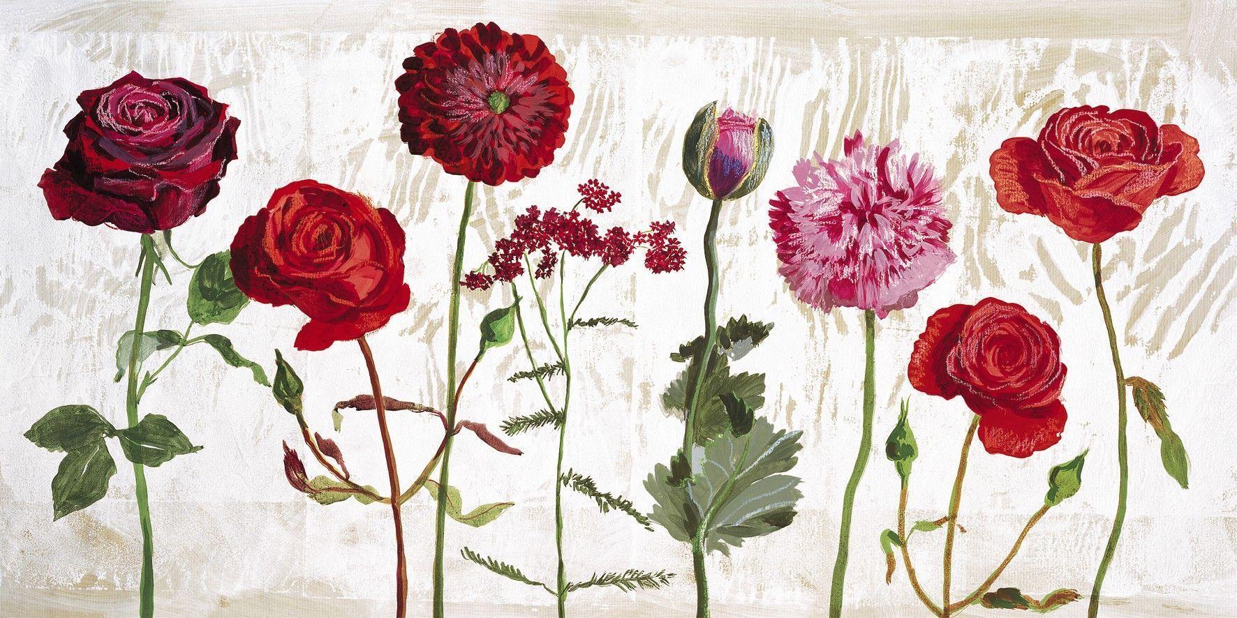 Affiche le jardin aux fleurs rouges