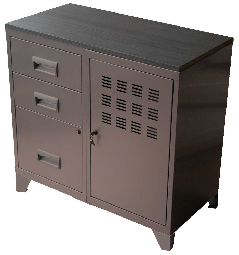 Meuble bureau m tal 1 porte 3 tiroirs for Meuble bureau metal