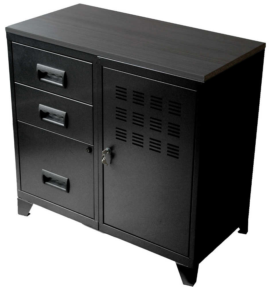 Meuble bureau m tal 1 porte 3 tiroirs for Meuble 2 portes 2 tiroirs