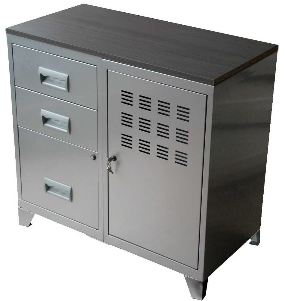 Meuble bureau m tal 1 porte 3 tiroirs for Meuble a tiroir bureau