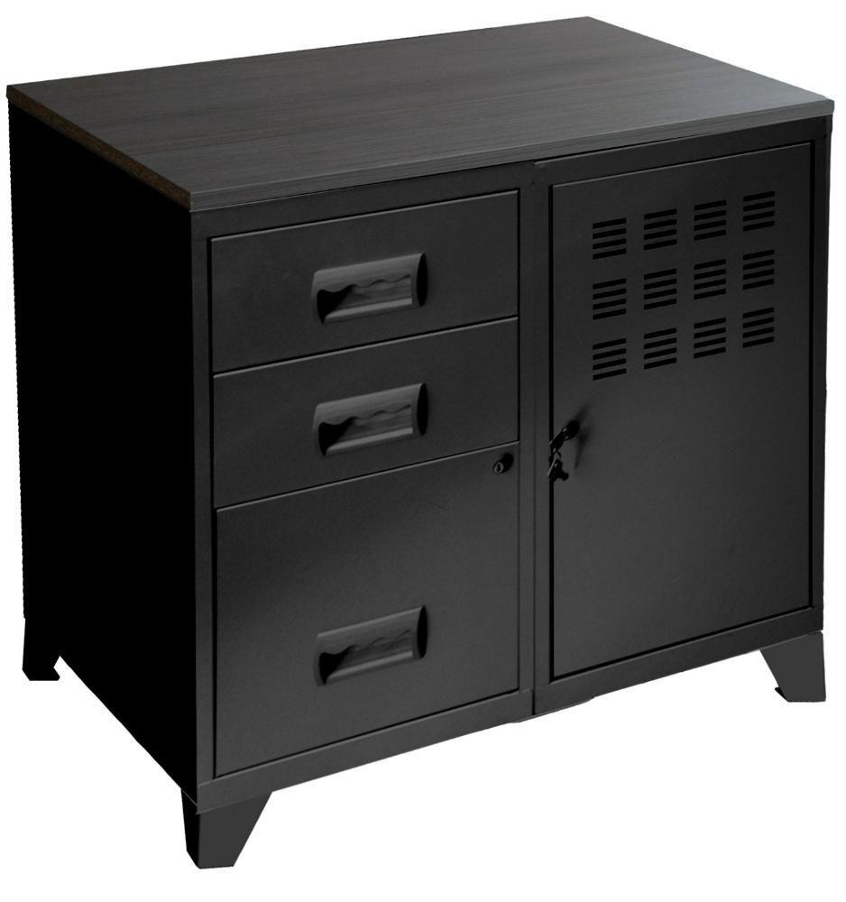 Colonne de rangement tiroirs en m tal for Petit meuble de rangement noir