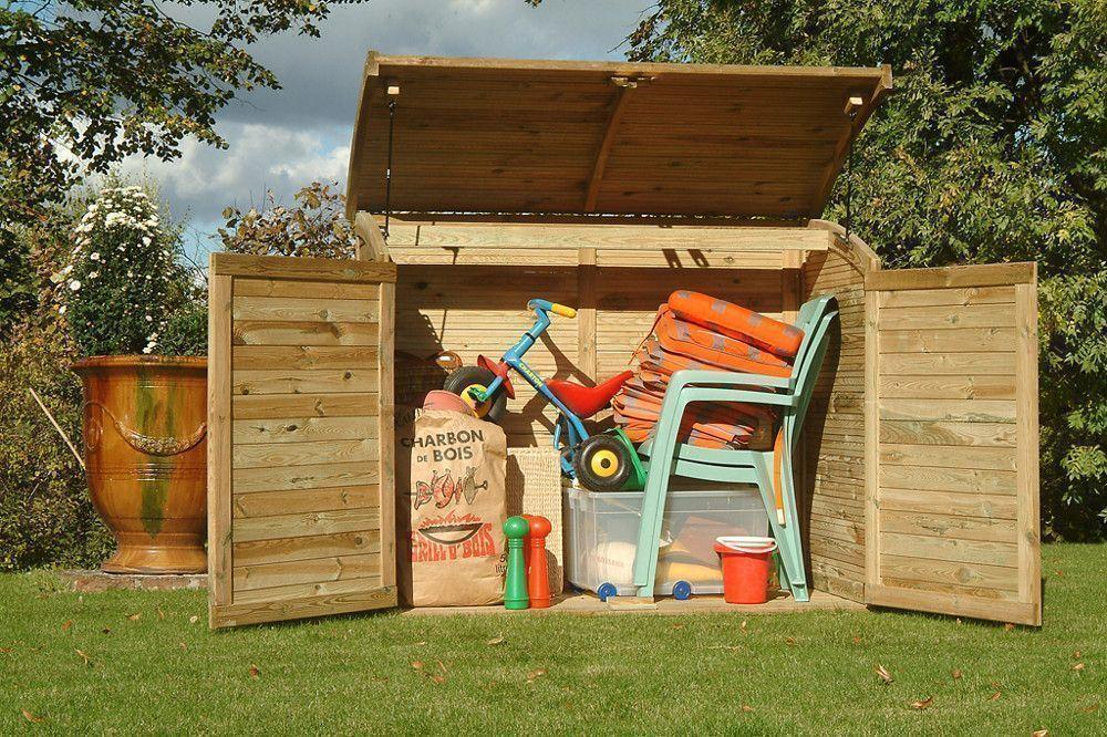 Armoire coffre de jardin en bois 900l - Bac de rangement exterieur ...
