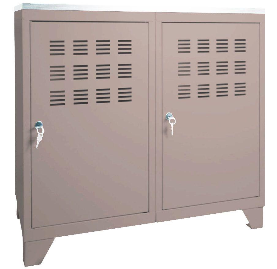 Armoire de rangement m tal 2 portes for Meuble pour veranda pas cher