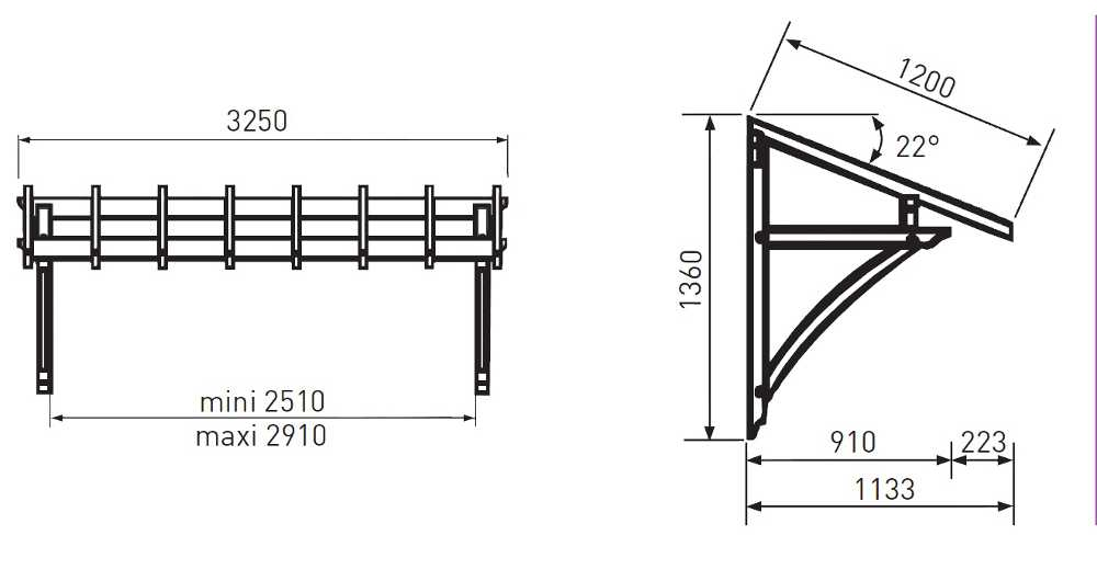 Auvent porte de garage 3 25x1 20m - Auvent de porte de garage ...