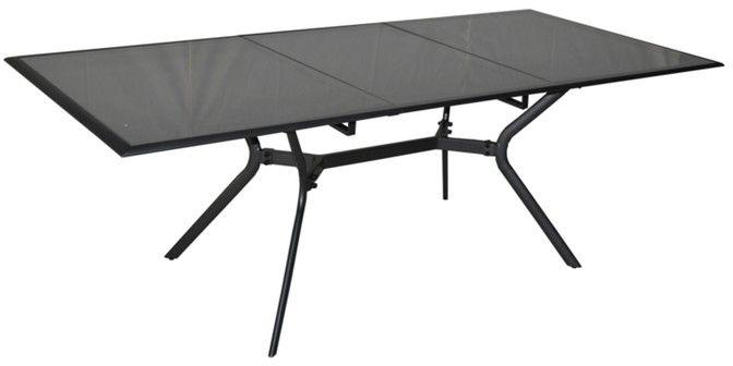 Table rectangulaire malaga en aluminium et verre 180-240x100x74cm