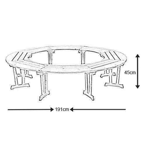 banc circulaire tour d 39 arbre en pin 191x45cm haut de gamme alexander rose sur. Black Bedroom Furniture Sets. Home Design Ideas