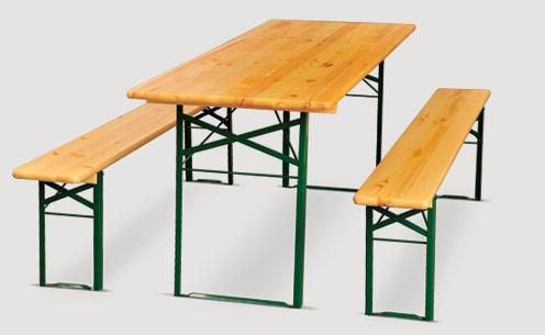 Ensemble brasserie table et bancs en m tal et bois bois aubry gaspard sur Location table rectangulaire